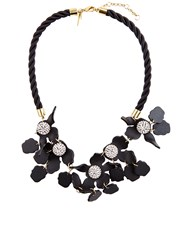Lele Sadoughi Jet Black Resin Flower Necklace
