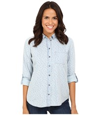Kut From The Kloth Kayla Red Light Blue Women's Long Sleeve Button Up