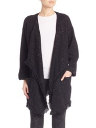 Joie Soft Farid Tweed Fringe Open Front Cardigan Caviar