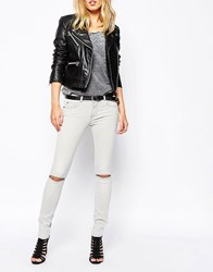 Supertrash Paradise Skinny Jeans With Ripped Knees Grey