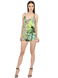 Blumarine Jungle Printed Romper Green Brown