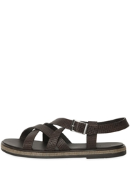 Giorgio Armani Woven Leather Sandals Brown