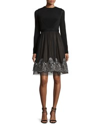 Catherine Deane Long Sleeve Jersey And Silk Fit And Flare Dress Black Silver Blk Silver