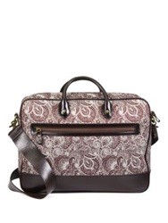 Robert Graham Everett Leather Trimmed Paisley Fabric Briefcase Brown