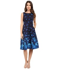 Adrianna Papell Pleated Faille Fit And Flare Blue Multi Women's Dress