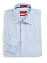 Saks Fifth Avenue Red Trim Fit Dobby Check Dress Shirt Blue