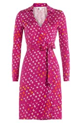 Diane Von Furstenberg Printed Silk Wrap Dress Purple