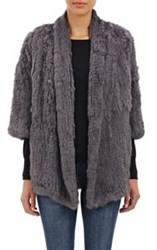 Barneys New York Rabbit Fur Jacket Grey