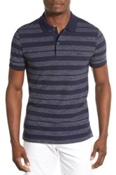 Lacoste 'Business Casual' Slim Fit Stripe Short Sleeve Polo Blue