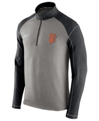 Nike Men's San Francisco Giants Dri Fit Touch Half Zip Pullover Black Gray