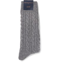 Kingsman Cable Knit Cashmere Socks Gray