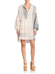Polo Ralph Lauren Linen Patchwork Tunic Blue Cream Plaid Patchwork