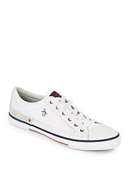 Original Penguin Quest Leather Suede And Mesh Low Top Sneakers White