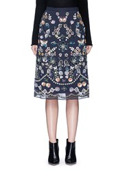 Needle And Thread 'Butterfly Garden' Embellished Georgette Skirt Black Multi Colour