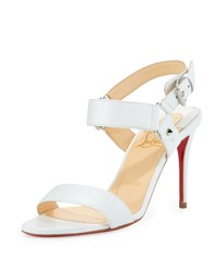 Christian Louboutin Sova Leather 85Mm Red Sole Sandal White