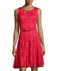 Chetta B Lace Scoop Neck Dress Red Crimson