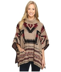 Lucky Brand Aztec Poncho Natural Combo Women's Coat Tan