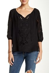 Love And Liberty 3 4 Sleeve Embroidered Silk Blouse Black
