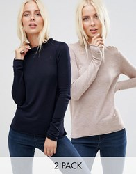 Asos Jumper With Crew Neck In Soft Yarn 2 Pack Save 20 Oatmeal Marl Navy Multi