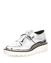 Stella Mccartney Odette Studded Faux Leather Oxford Indium Silver