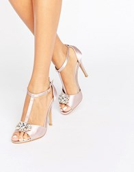 True Decadence T Bar Light Pink Embellished Heeled Sandals Light Pink Satin