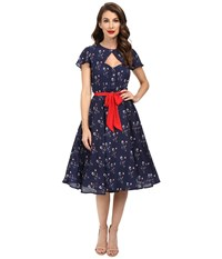 Unique Vintage Ashcroft Short Sleeve Swing Dress Navy Floral Women's Dress