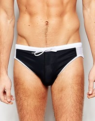 Asos Swim Trunks In Black With Mesh Side Panels Red