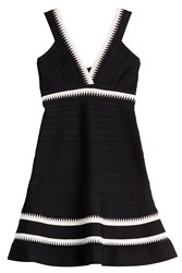 Herve Leger Herve Leger Bandage Dress With V Neckline Black