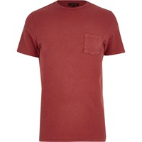 River Island Mens Red Textured Crew Neck T Shirt
