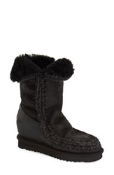 Women's Mou 'Eskimo Tall' Genuine Shearling Boot Black Suede