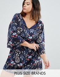 Yumi Plus Smock Dress In Floral Navy