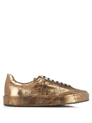 Jil Sander Metallic Leather Low Top Trainers Gold