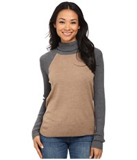 Pendleton Color Block Turtleneck Camel Heather Grey Heather Women's Long Sleeve Pullover Beige
