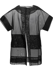 Antonio Berardi Oversized Sheer Short Sleeve Jacket Black