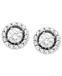 Arabella 14K White Gold Earrings Swarovski Zirconia Round Pave Stud Earrings 2 7 8 Ct. T.W. Clear