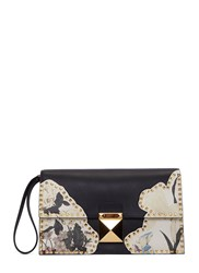 Valentino Floral Printed Pyramid Stud Clutch Bag Black