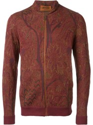 Missoni Floral Jacquard Bomber Jacket Red