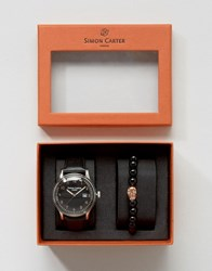 Simon Carter Leather Watch And Skull Beaded Bracelet Gift Set Black