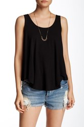 Hip Curved Double Scoop Tank Black