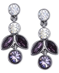 Jones New York Light Hematite Tone Tanzanite Linear Drop Earrings