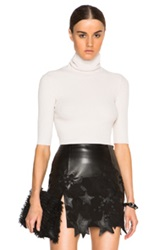 Calvin Klein Collection Tai Fitted Chenille Turtleneck In Neutrals