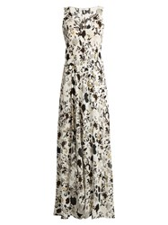 A.L.C. Harlan Floral Print Silk Crepe Dress White Multi