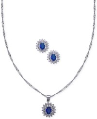 Nina Silver Tone Stone And Crystal Pendant Necklace With Matching Stud Earrings Blue