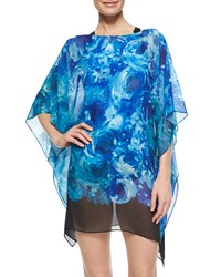 Carmen Marc Valvo The Blooms Floral Print Georgette Coverup Royal