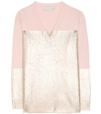 Stella Mccartney Metallic Cashmere And Wool Sweater Pink