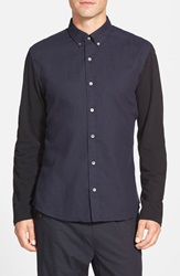 Bespoken Extra Trim Fit Sport Shirt With Jersey Knit Sleeves Midnight Navy
