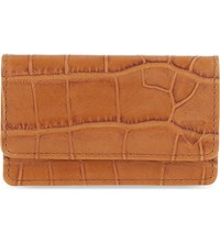 Aspinal Of London Crocodile Embossed Leather Card Holder Tan