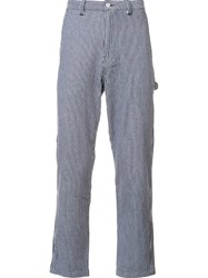 Stussy Cropped Striped Trousers Blue