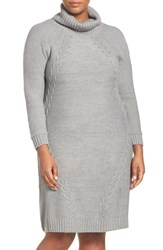 Eliza J Plus Size Women's Cable Knit Turtleneck Dress Heather Grey