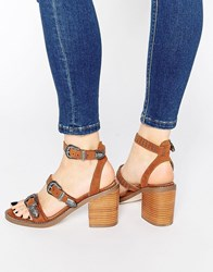 Asos Taco Western Heeled Sandals Tan